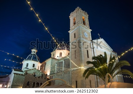 Night take of the blue domes of Altea landmark church, Costa Blanca, Spain - stock photo