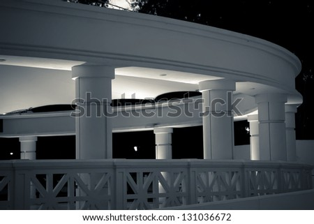 Night time architectural study of public pavilion of Forsyth Park in the Historic District of Savannah, Georgia, USA. - stock photo