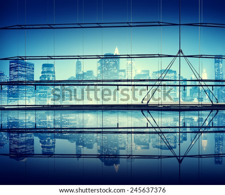 Night Time Cityscape Clear Sky Concepts - stock photo