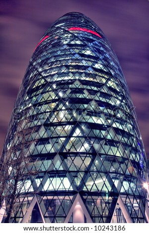Night-time HDR view of The Gherkin in the City of London