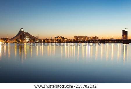 Night time in Riga, Latvia - stock photo
