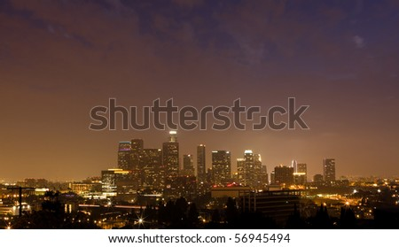 Night time panorama of downtown Los Angeles - stock photo