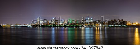 Night time panorama of downtown Montreal - stock photo