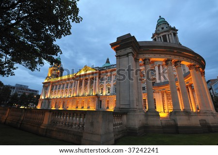 night time photo of City Hall,Belfast,Co.Antrim, Northern Ireland - stock photo