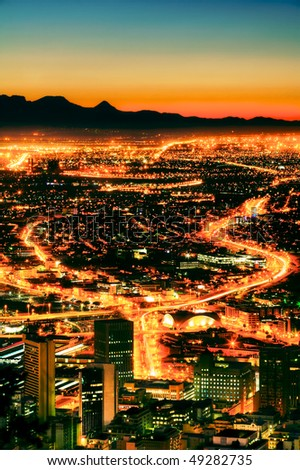 Night time view of Cape Town from Signal Hill. - stock photo