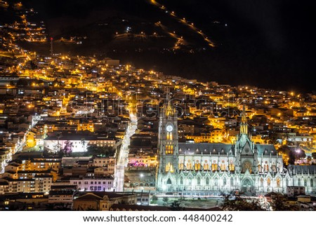 Night time view of the magnificent basilica of Quito, Ecuador - stock photo