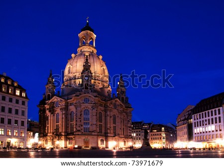 Night time view on the illuminated Frauenkirche in the city of Dresden in germany - stock photo