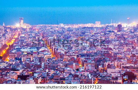 night top  view of Barcelona - stock photo