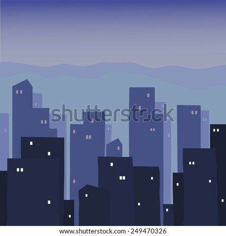 Night town. Urban night landscape. Silhouettes of houses at night.