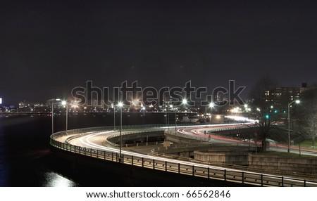 Night traffic at Memorial Drive in Boston - stock photo