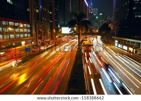Night traffic in a city