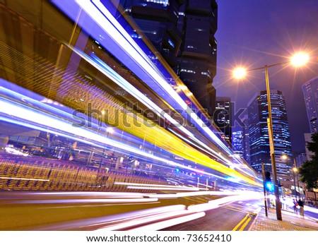 night traffic in city - stock photo