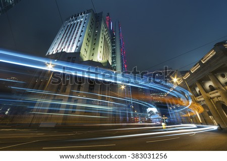Night traffic in urban city - stock photo