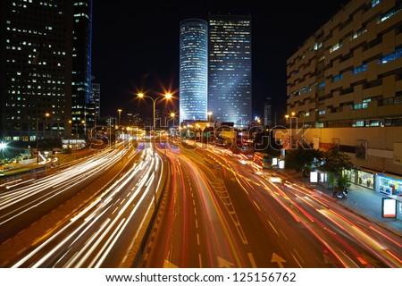 Night traffic jam - stock photo