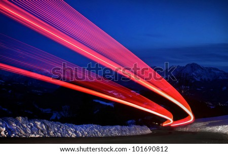 Night traffic light on a highway - stock photo
