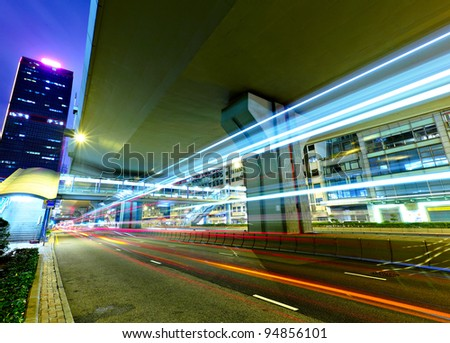 night traffic light trail - stock photo