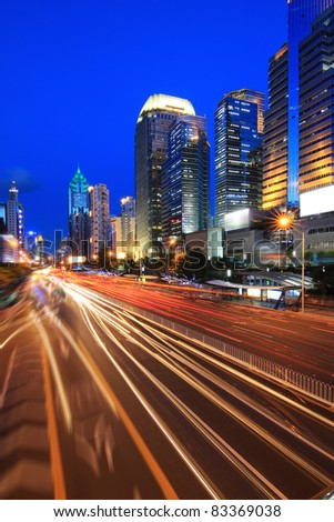 night traffic on the street in shenzhen,China - stock photo