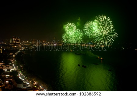 Night view and firework at Pattaya city, Thailand