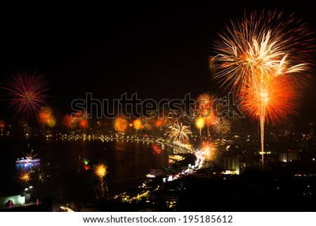 Night view and fireworks at Pattaya city, Thailand - stock photo