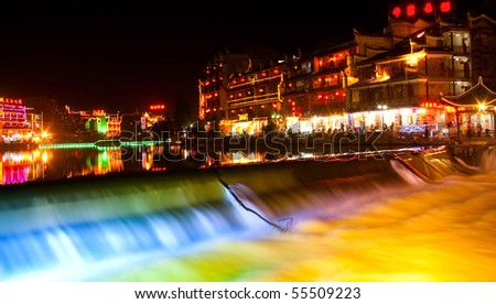 Night-view at Phoenix Town - the one the four most attractive small towns in China, next to Tuojiang - stock photo
