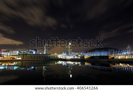 Night view at the expo district in Lisbon, Portugal - stock photo