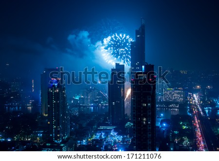 Night view cityscape of Bangkok with colorful Fireworks