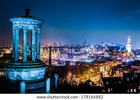 Night view from Calton Hill to Edinburgh - stock photo