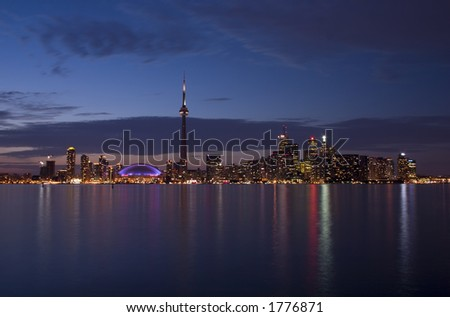Night view from central island - stock photo