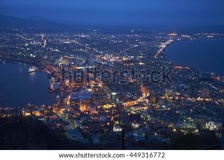 Night view from Mountain Hakodate, Japan.