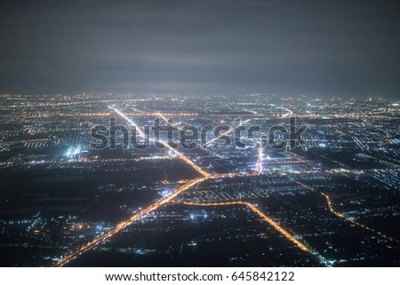 Night View From The Airplane