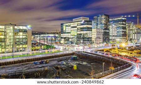 Night view from the roof of Oslo Opera house  - stock photo