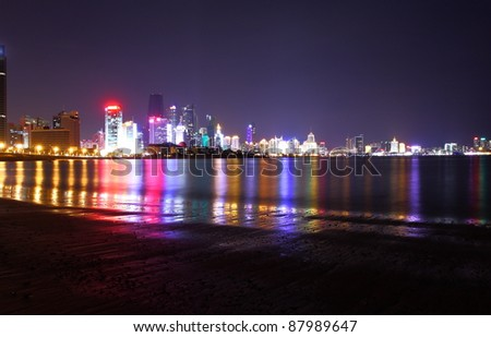 night view in Qingdao of China