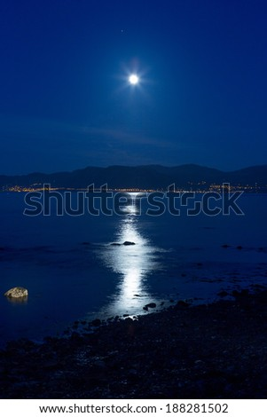 Night view of Bangor Wales United Kingdom - stock photo