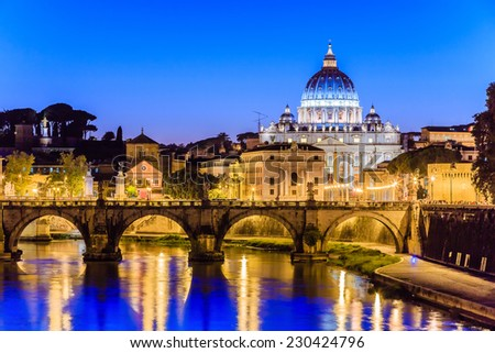 Night view of Basilica St Peter and river Tiber in Rome in Italy - stock photo