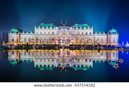 Night view of belvedere palace in vienna during christmas time - stock photo
