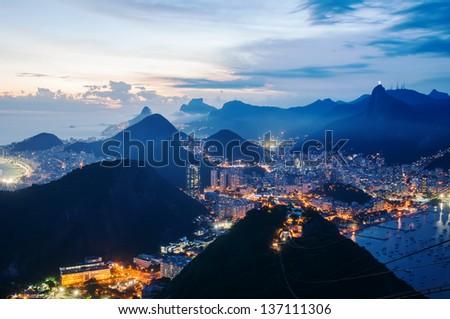 Night view of Botafogo and Corcovado in Rio de Janeiro - stock photo