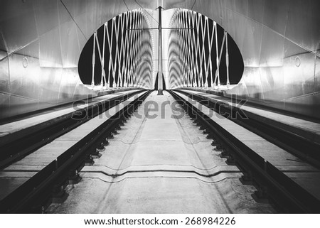 night view of bowstring arch Troja bridge, Prague, Czech Republic - stock photo