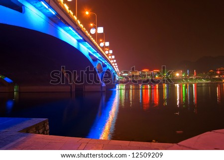 Night view of bridge in Guilin, China