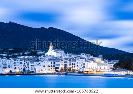 Night view of Cadaques, the famous small village of Costa Brava. - stock photo