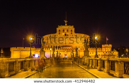 Night view of Castel Sant'Angelo in Rome, Italy - stock photo