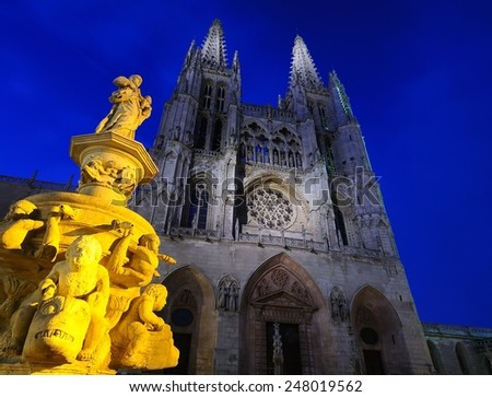 Night view of cathedral in Burgos, Spain. - stock photo