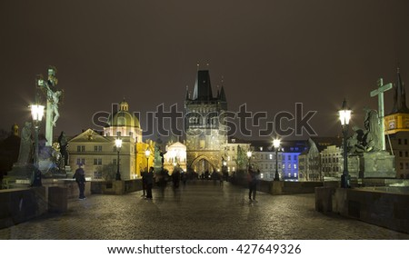 night view of Charles Bridge in Prague, Czech Republic   - stock photo