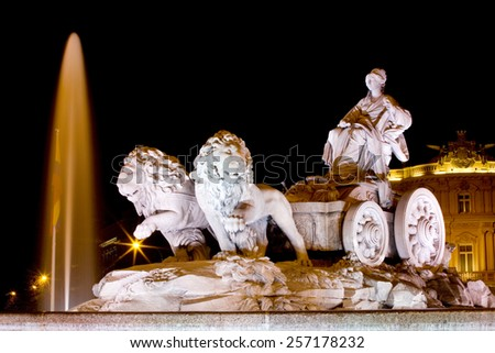 Night view of Cibeles Fountain an emblematic monument in Madrid, Spain. Cibeles Fountain. - stock photo
