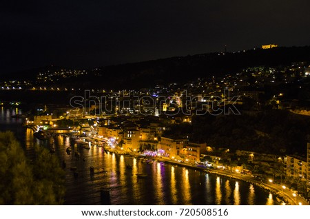 Night View of City on the Coast