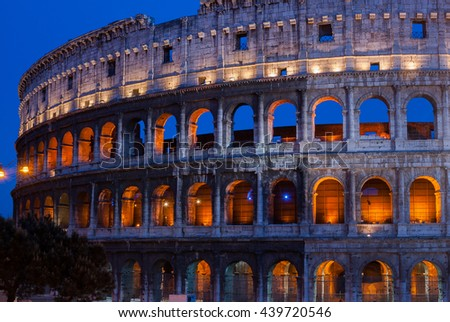 Night view of Colosseum (Coliseum)  in Rome, Italy
