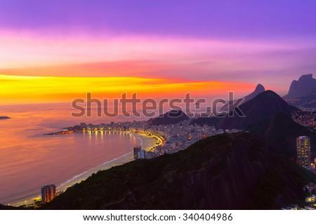 Night view of Copacabana beach in Rio de Janeiro. Brazil - stock photo