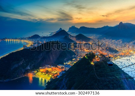 Night view of Copacabana beach, Urca and Botafogo from Sugar Loaf in Rio de Janeiro - stock photo