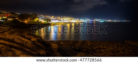 Night view of Costa Adeje in Tenerife, Spain