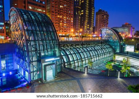 Night view of Daan Park MRT station in Taipei, Taiwan - stock photo