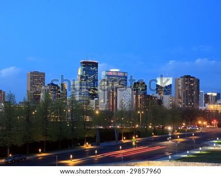 Night view of downtown Minneapolis - stock photo